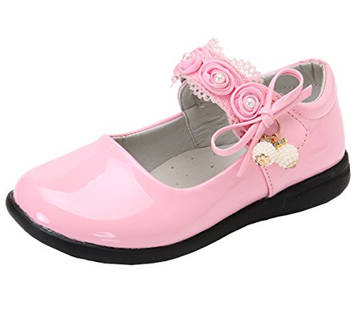 DADAWEN Girl's Strap School Uniform Dress Shoe Mary Jane Flat (Toddler/Little Kid) Pink US Size 8.5 M Toddler -