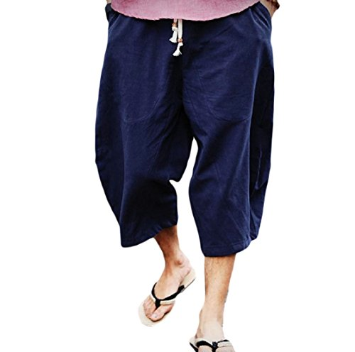 CrazyDay Men's Harem Chinese Style Linen Smocked Waist Vogue Pure Colour Capri Pants Navy Blue 3XL