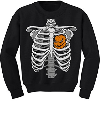Halloween Skeleton Rib Cage Xray Pumpkin Heart Costume Youth Kids Sweatshirt X-Large Black (Xray Skeleton Kids Costume)