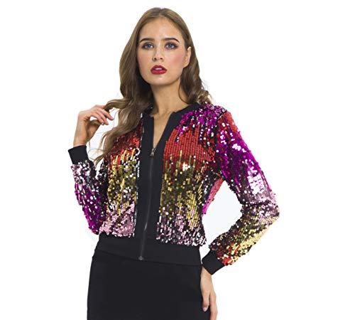 (Beauty Kai Women's Sequin Long Sleeve Front Zip Bomber Jacket (X-Large, Multi Color))