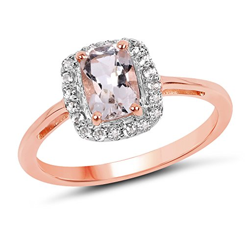 14K Rose Gold Plated 0.95 Carat Genuine Morganite and White Topaz Solid .925 Sterling Silver Princess Ring