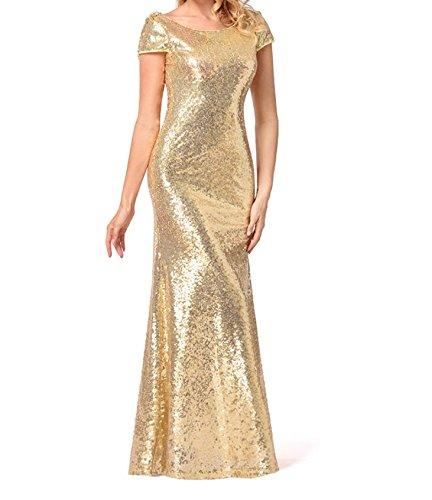 tuo damigella Moda Moda Abito schienale gonna con per vestito il di ZFFde Abito dorato Abito Golden d'onore paillettes da senza Abito zdwU5OqWI