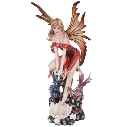 Autumn Fairy with Wings and Baby Dragons Mystical Statue Figurine (Wings Fairy Figurine)