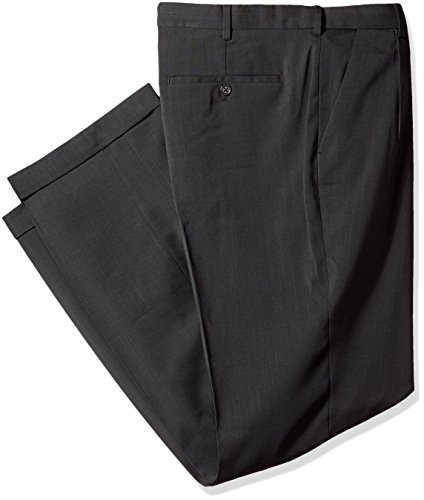 Van Heusen Men's Big and Tall Traveler Stretch Pleated Dress Pant, Charcoal, 34W x 38L ()