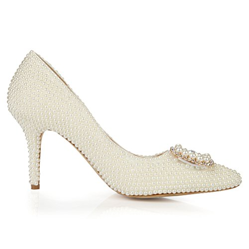 Women's Party Heel L High Stiletto YC Shoes Rhinestone Pearl Platform Pointed Court White Pumps qXUX5fwnx6