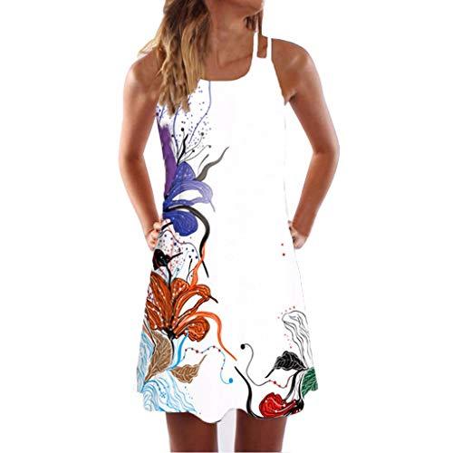LINKIOM Skirts for Women Long Length, Vintage Boho Mini Dress Women Summer Sleeveless Beach Printed Short Skirt(XXXX-Large,White)