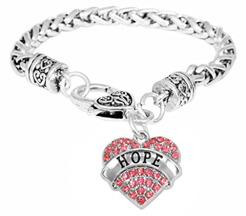 Breast Cancer Support Hope Engraved Crystal Adorned Heart Shaped Pendant Lobster Claw Bracelet Gift