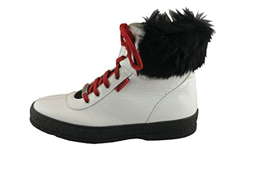 Ammann Damen Winter Schnürstiefel Laax Weiss Lackleder Lammfell Futter Curlingsohle Größe 40