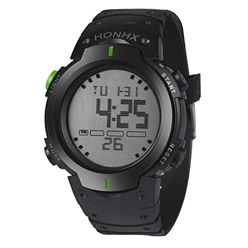 Han Shi Waterproof Wristwatch, Fashion Mens LCD Digital Stopwatch Date Rubber Sport Watch (Green, ()