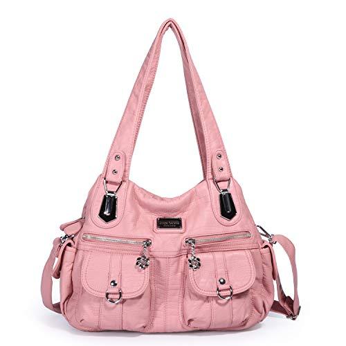 Angel Barcelo Women's Soft Leather Multi-layer pocket Tote Shoulder Bag