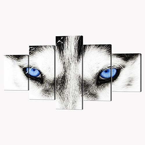 5 Piece Black and White Husky Dog With Blue Eyes Canvas Wall Art Modern Gallery-wrapped Animal Face Prints and Posters Stretched and Framed Ready to Hang for Home and Office Decor - 60''W x 32''H ()