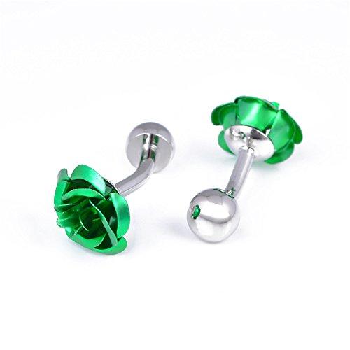 Da.Wa 1 Pair Rose Flower Cuff Links for Mans Women Jewelry Gift for Wedding Anniversaries Birthday Cufflinks by Da.Wa (Image #7)