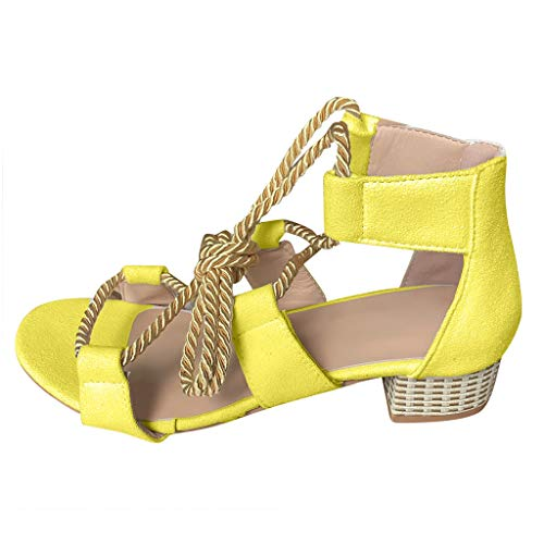 ✩HebeTop Women's Ladies Elegant Strap Mixed Color Fashion Gladiator Lace Up Square Heel Sandals Roman Shoes Yellow