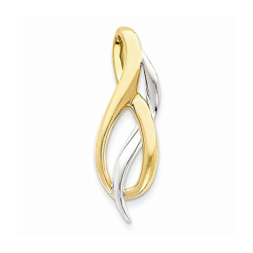 14K Two-Tone Slide SL582<BR>Solid | Casted | Polished | 14K Two-tone | Fits up to 4mm regular | Fits up to 8mm fancy by Core Gold