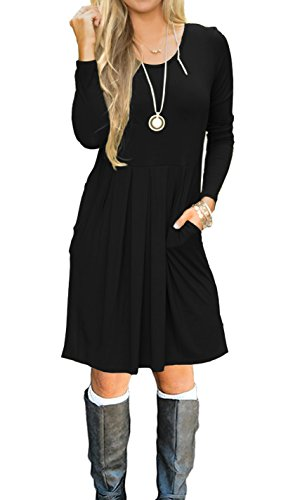 AUSELILY Women's Scoop Neck Pleated Loose Swing Casual Knee Length Dress With Pockets (M, Black)