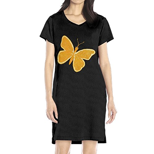 AIJFW Orange Butterfly Women's V-neck Mini Dress