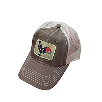 north flag rooster chicken distressed trucker baseball cap brown rossignol hat