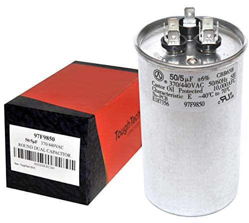ToughTech 50+5 uf MFD 97F9850 Dual Run Round Capacitor 370 or 440 VAC for Air Conditioner (Capacitor Pump Heat)
