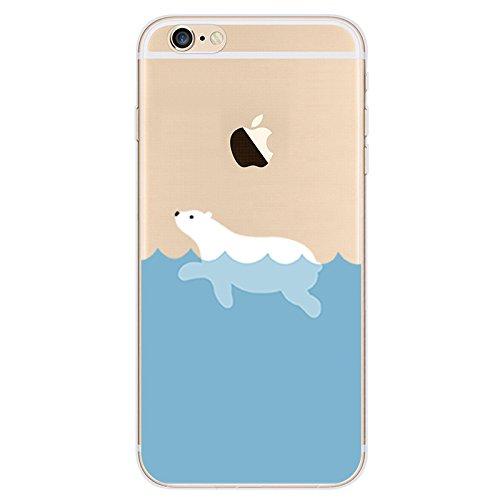 """Étui pour iPhone 6 iPhone 6S TPU, Ruirs Nice coloré d'impression ultra-transparent transparent TPU téléphone étui pour iPhone 6 / 6S 4.7""""((Ours Polaire)"""