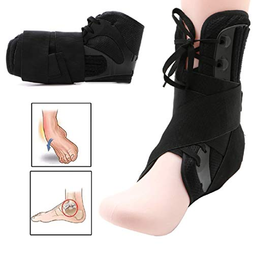 Maxfelica Ankle Brace Support Sports Adjustable Ankle Straps Sports Support Adjustable Foot Orthosis Stabilizer Ankle Protector for Sprained Ankle, Running Soccer Volleyball Basketball etc (Small)