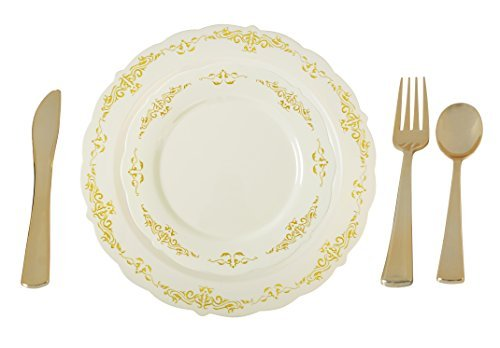(Plastic China Plate Silverware Combo Serving for 20 (115 piece set) IVORY/GOLD)