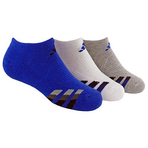 adidas Boys Cushion No Show Socks , Bold Blue/Black - White/Bold Blue - Heathered Light Onix/Bold Blue, Large