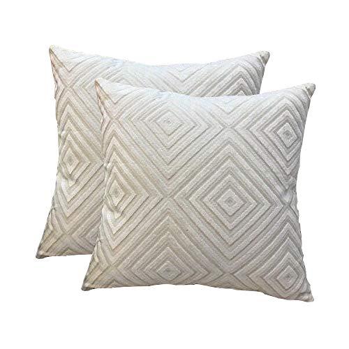 Blue Velvet Stripe - Myfeel Pack of 2,Throw Pillow Covers,Soft Velvet Square Decorative Throw Pillow Covers, Cushion Cases Pillowcases for Sofa Bedroom Car 18 inch 45 cm[Beige]