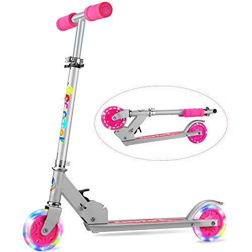 OUTON Folding Kick Scooter 2 Wheel Scooter, 3 Adjustable Height, LED Light Up Wheels for Children Ages 5+ ()
