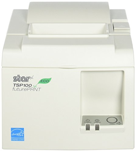 Star Micronics, TSP143IIU WHT US, ECO-Friendly Receipt Printer, USB (cable incl.), Auto Cutter, Internal Power Supply with Power Cable (154 Receipt)