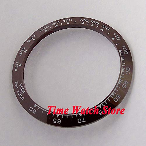 Pukido 39mm white marks coffee ceramic bezel insert for GMT mens watch B46 ()