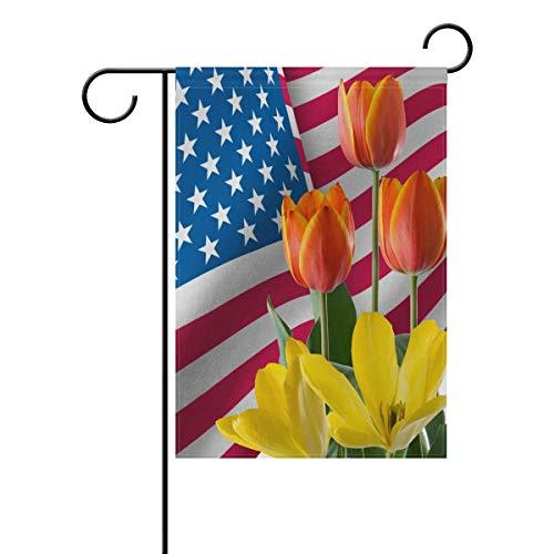 AGONA Tulip Flowers Celebrate The USA Patriotic Garden Flag 28 x 40, Outdoor Vertical Double Sided Yard Flags Seasonal Holiday Decorative House Flag for Garden Decor Party Housewarming Gift Hostess Gi from AGONA