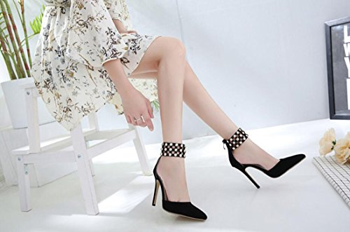 Mujer Tacón Rhinestones Punta Sandalias Negro Summer Estrecha Aguja Zapatos De 0qAWIxwf5