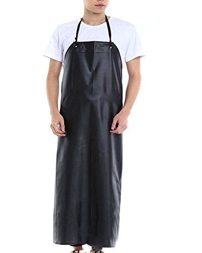 BESTCYC Men's Black Heavy Duty Waterproof Stain Resistant PVC Extra Long Apron for Kitchen Dishwashing Lab Butcher Fishing Fishing Apron