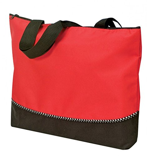 DDI 1902389 Poly Tote Bag With Zipper - Red-Black by DDI