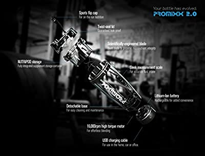 PROMiXX 2.0 - The World's Best Vortex Mixer / Blender / Shaker Bottle with X-blade Technology and Integrated Protein Storage Container. 16000rpm Lithium-ion battery. USB Rechargeable. 100% Leak-proof Guarantee. BPA-free. 600ml / 20oz