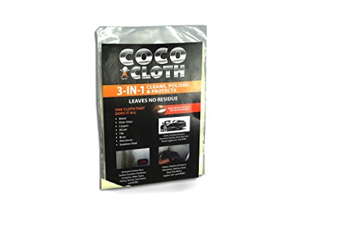 (GURUFIX COCO CLOTH Re-Usable 3 in 1 Cleans, Polishes & Protects Metal, Brass, Stainless Steel, Aluminum, Enamel, Pewter and Tile. Amazing Metal Polish Cloth Works Best after Use. (Single 12x9))
