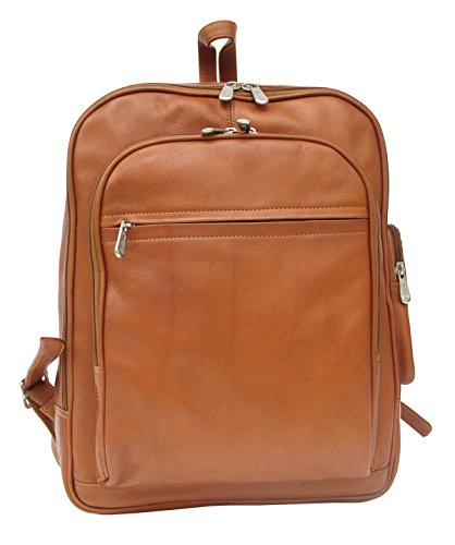 Piel Leather Entrepeneur Front-Pocket Computer Backpack in Saddle