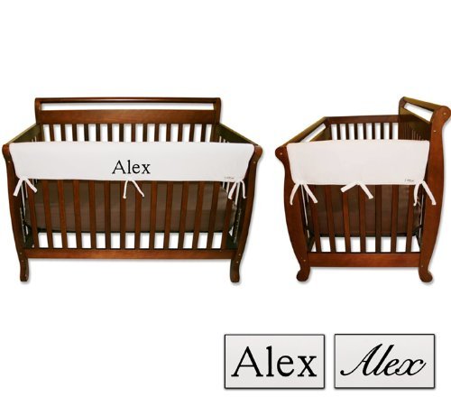 Personalized Embroidered Monogram or Name 3pc Trend Lab Crib Wrap Rail Guard Set, White ()