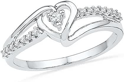 Sterling Silver White Round Diamond Fashion Ring (1/10 CTTW)
