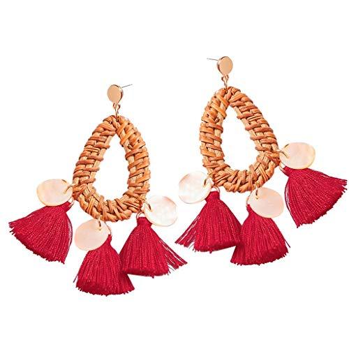 - Psunrise Pendientes Bohemian Rattan Tassel Handmade Long Round Earrings Ladies Round Out Jewelry(3.5 × 10.5cm, Red)