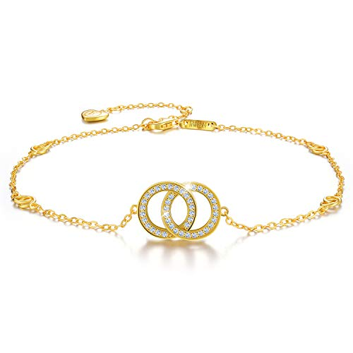 Esberry 18K Gold Plated 925 Sterling Silver 5A Cubic Zirconia CZ Double Circle Ankle Bracelets Charm Adjustable Foot Jewelry for Women and Teen Girls,Gift for Valentine's Day