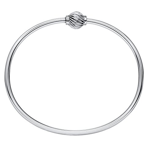 Lighthouse Creations The Traditional Sterling Silver Single Swirl Ball Threaded Bracelet from Cape Cod, 7
