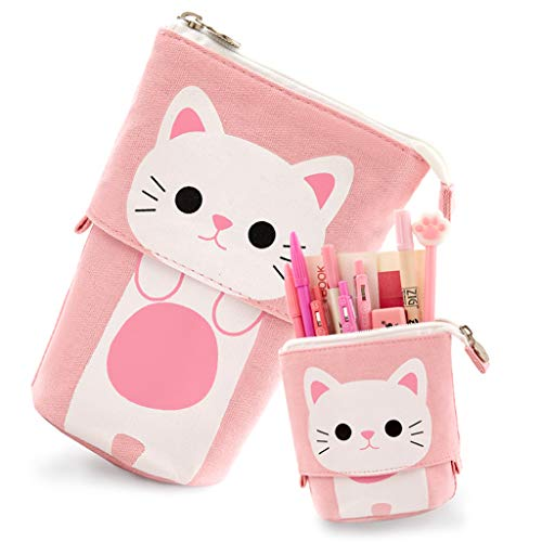 Aineeba Large Capacity Pencil Pen Case Holder Bag Pouch for School Student Girl Boy Children Adult (Pink)