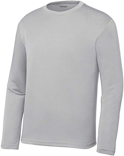 DRI-EQUIP Youth Long Sleeve Moisture Wicking Athletic Shirts. Youth Sizes XS-XL, Silver, Medium