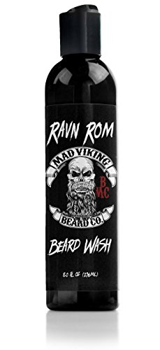 Mad Viking Beard Co. - Premium Beard Wash with Provitamin B5, Deep Cleansing and Conditioning, All Natural, Improves Elasticity and Softness. Hydrates The Skin. Made in The USA - 8oz (Ravn ROM)