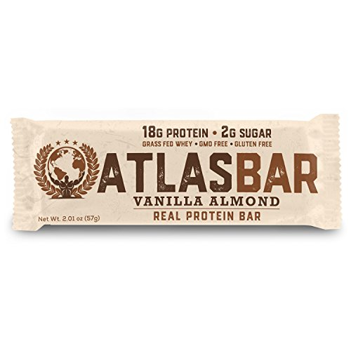 Atlas Bar - Keto/Paleo/Low Carb/All Natural Protein Bar, Vanilla Almond, 2.01 Ounce (12-Pack) — Grass Fed Whey, Low Sugar, All Natural, Gluten Free, Soy Free, and GMO ()