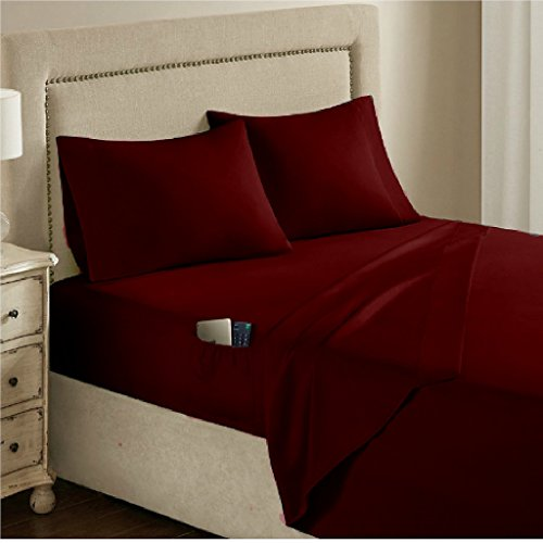 Renesmee Collections 1800 Series Brushed Microfiber 11 Inch Extra Deep Pocket 1PC Fitted Sheet with Side Storage Pocket Full Size Solid Burgundy - Deep Pocket Fitted Sheet
