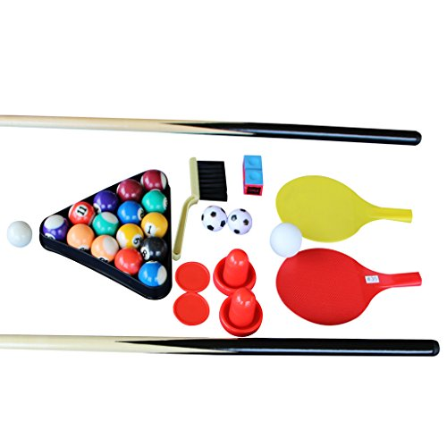 IFOYO Multi Function 4 in 1 Combo Game Table, Steady Pool Table, Hockey Table, Soccer Foosball Table, Table Tennis Table, 31.5in, Blue