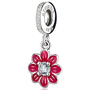 ATHENAIE 925 Silver Romantic Red Enamel Poetic Bloom Pendants with CZ Birthstone Dangle Charm Beads