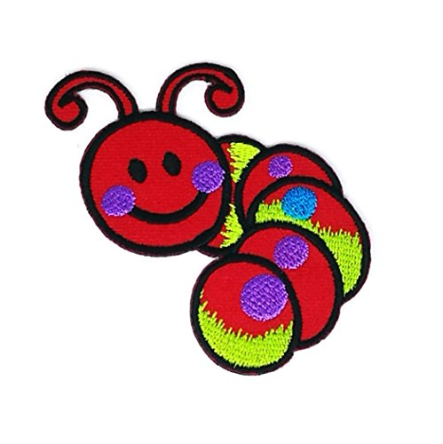2.2 x 3 inches Red Worm Animal Patch Sew Iron on Embroidered Badge Symbol Custom Worms Animals